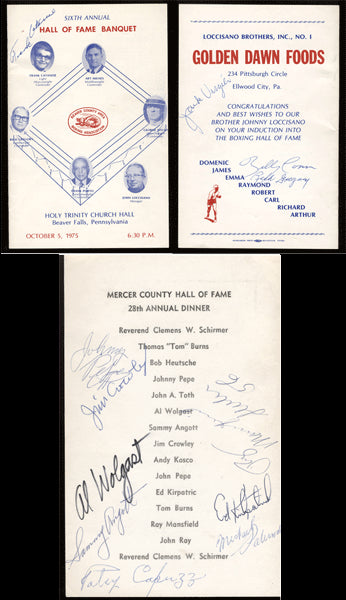 HALL OF FAME BANQUET SIGNED PROGRAM (1975-SIGNED BY CONN, ANGOTT, WOLGAST)