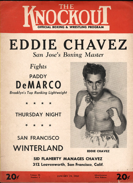 DEMARCO, PADDY-EDDIE CHAVEZ OFFICIAL PROGRAM (1952)