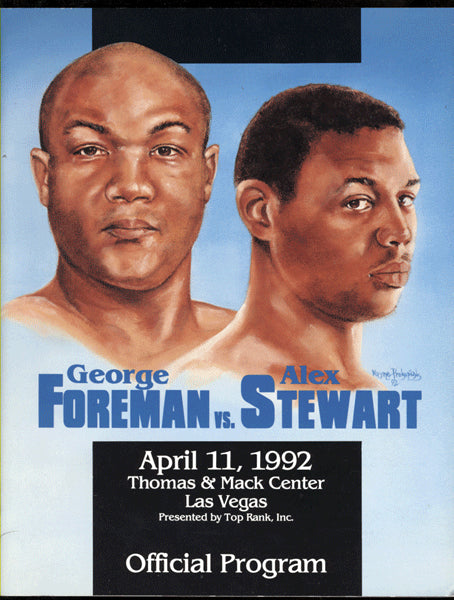 FOREMAN, GEORGE-ALEX STEWART OFFICIAL PROGRAM (1992)