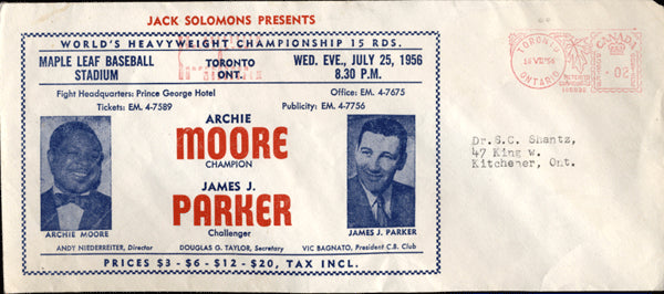 MOORE, ARCHIE-JAMES PARKER FIGHT ENVELOPE (1956)