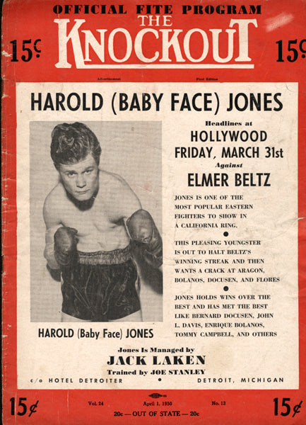 Jones,Harold Official Program Against Beltz 1950