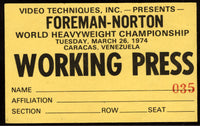 FOREMAN, GEORGE-KEN NORTON WORKING PRESS PASS (1974)