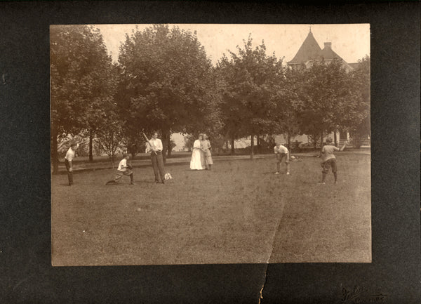 CORBETT, JAMES J. ORIGINAL ANTIQUE PHOTO (PLAYING BASEBALL WITH FAMILY)