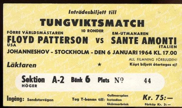 PATTERSON, FLOYD-SANTE AMONTI ORIGINAL STUBLESS TICKET (1964)
