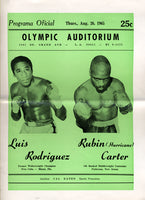 "CARTER, RUBIN ""HURRICANE""-LUIS RODRIGUEZ OFFICIAL PROGRAM (1965)"