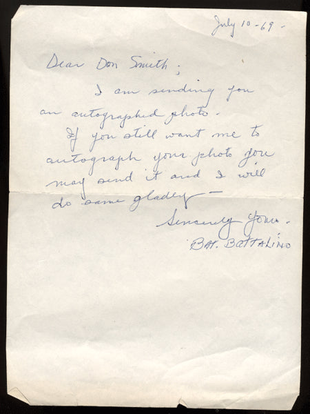 BATTALINO, BAT SIGNED HAND WRITTEN LETTER