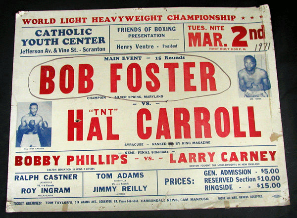 FOSTER, BOB-HAL CARROLL ON SITE POSTER (1971)