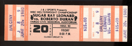 DURAN, ROBERTO-SUGAR RAY LEONARD I FULL CLOSED CIRCUIT TICKET (1980)