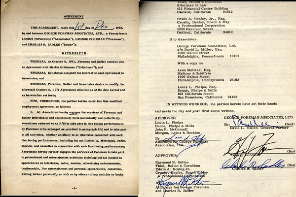 FOREMAN, GEORGE SIGNED PROMOTIONAL CONTRACT (1972)