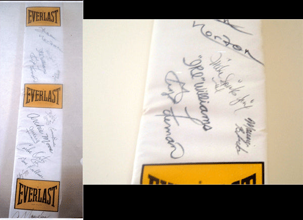 EVERLAST RING POS SIGNED BY MANY HALL OF FAMERS (FOREMAN, NORTON, HAGLER ETC.)