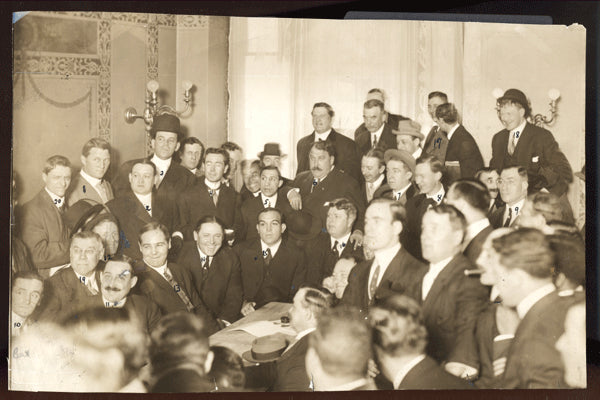 JEFFRIES, JIM ORIGINAL ANTIQUE PHOTO (1910-CONTRACT SIGNING FOR JOHNSON FIGHT)