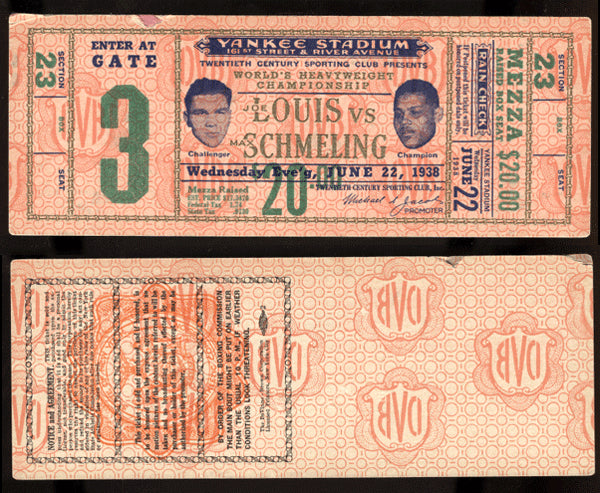 LOUIS, JOE-MAX SCHMELING II FULL TICKET (1938)