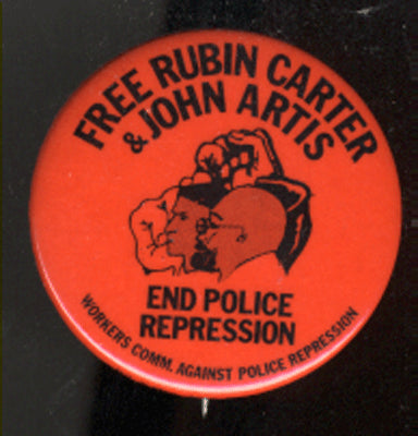 "CARTER, RUBIN ""HURRICANE"" ORIGINAL FREEDOM FROM POLICE REPRESSION PIN"