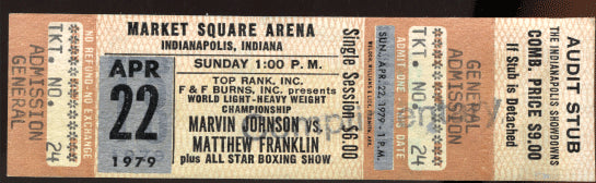 FRANKLIN, MATHEW (SAAD MUHAMMAD)-MARVIN JOHNSON FULL TICKET (1979)
