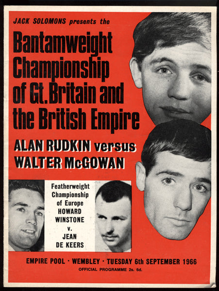 MCGOWAN-RUDKIN & BUCHANAN-LAUD OFFICIAL PROGRAM (1966)