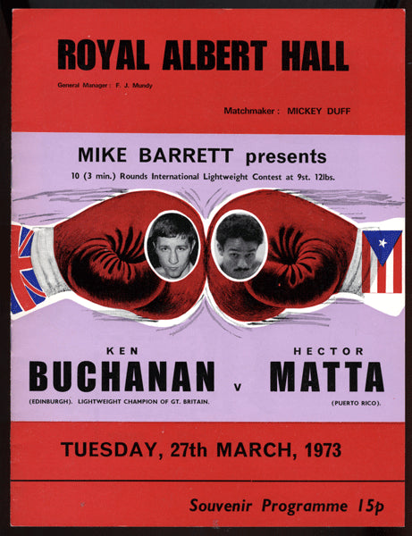 BUCHANAN, KEN-HECTOR MATTA OFFICIAL PROGRAM (1973)