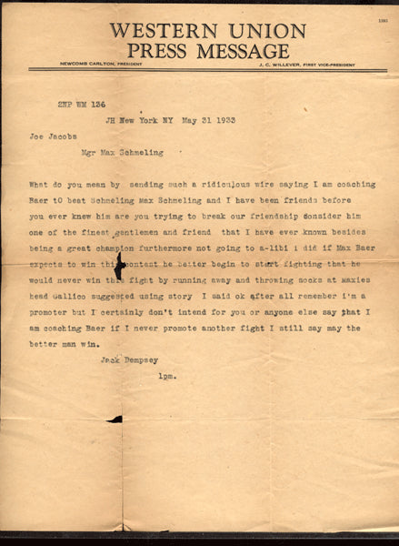DEMPSEY, JACK LETTER TO MANAGER JOE JACOBS (1933-GREAT CONTENT)