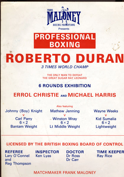 DURAN, ROBERTO EXHIBITION ON SITE BROADSIDE (1988)