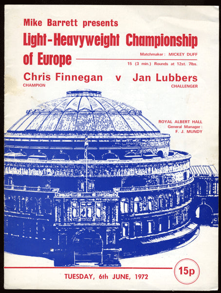 FINNEGAN, CHRIS-JAN LUBBERS OFFICIAL PROGRAM (1972-ALSO STRACEY, BUGNER)