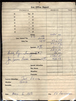 LOUIS, JOE-BUDDY RODGERS (WRESTLER) DISBURSEMENT SHEET (1956)