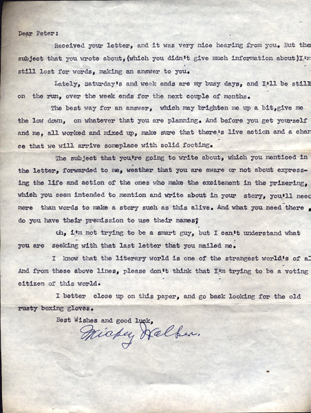 WALKER, MICKEY SIGNED LETTER TO WRITER PETER HELLER
