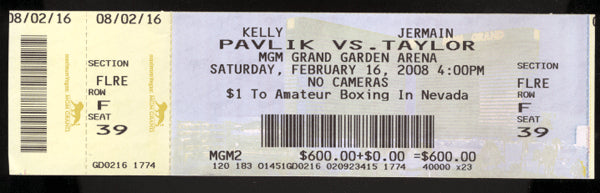 PAVLIK, KELLY-JERMAIN TAYLOR II FULL TICKET (2008)