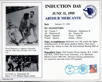 MERCANTE, ARTHUR SIGNED HALL OF FAME INDUCTION CARD