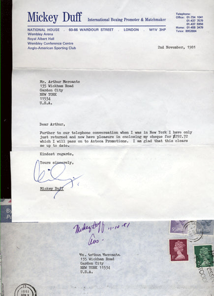 DUFF, MICKEY SIGNED LETTER (TO ARTHUR MERCANTE)