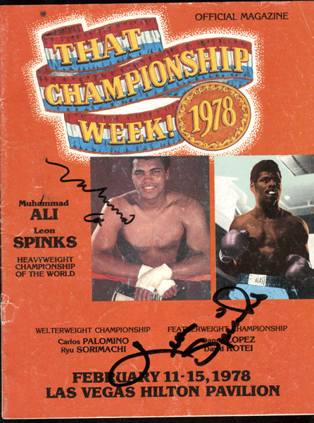 Ali,Muhammad Official Program Against Spinks I Signed by Both Fighters