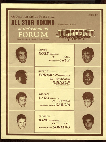 "FOREMAN, GEORGE-GEORGE ""SCRAP IRON"" JOHNSON & LIONEL ROSE-RAUL CRUZ OFFICIAL PROGRAM (1970)"
