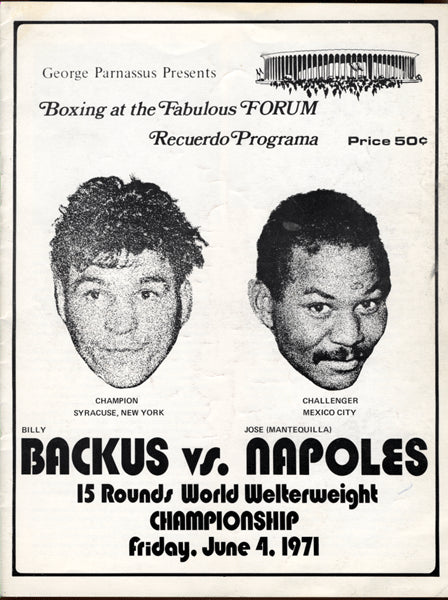NAPOLES, JOSE-BILLY BACKUS II OFFICIAL PROGRAM (1971)