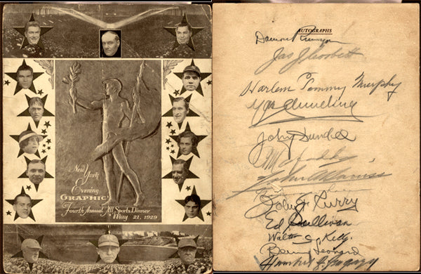 1929 ALL SPORTS DINNER SIGNED PROGRAM (CORBETT, SCHMELING, DUNDEE)