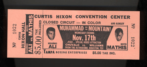 ALI, MUHAMMAD-BUSTER MATHIS FULL CLOSED CIRCUIT TICKET (1971)