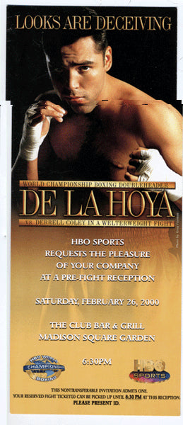 DE LA HOYA, OSCAR-DERREL COLEY HBO PRE FIGHT INVITATION (2000)
