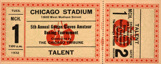 1932 CHICAGO GOLDEN GLOVES FULL TICKET