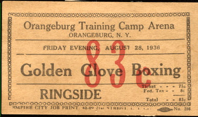 1938 ORANGEBURG GOLDEN GLOVES STUBLESS TICKET