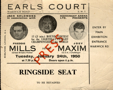 MAXIM, JOEY-FREDDIE MILLS STUBLESS TICKET (1950)