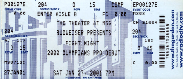 2000 OLYMPIC TEAM PRO DEBUT FULL TICKET (JERMAIN TAYLOR)