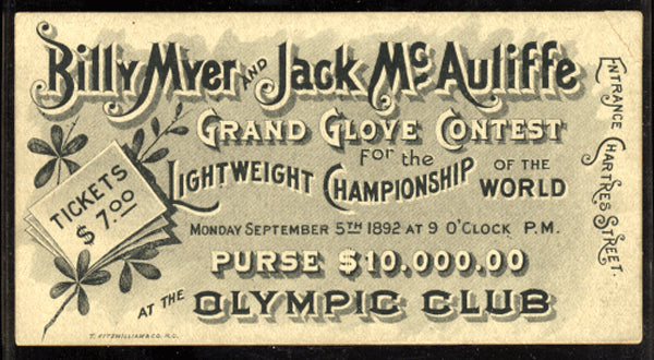 MCAULIFFE, JACK-BILLY MYER FULL TICKET (1892)