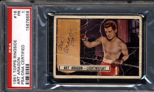 Aragon,Art  Signed 1951 Ringside Card PSA