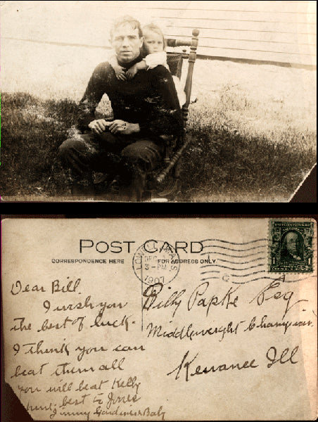 GARDNER, JIMMY SIGNED REAL PHOTO POSTCARD TO BILLY PAPKE (1907)