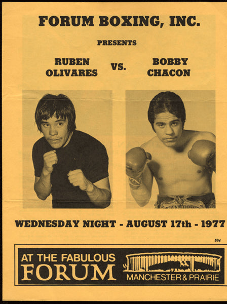 CHACON, BOBBY-RUBEN OLIVARES OFFICIAL PROGRAM (1977)