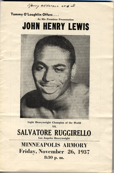 LEWIS, JOHN HENRY-SALVATORE RUGGIRELL OFFICIAL PROGRAM (1937)