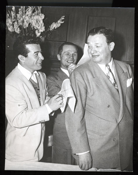 GRAZIANO, ROCKY & TONY ZALE WIRE PHOTO (1948)