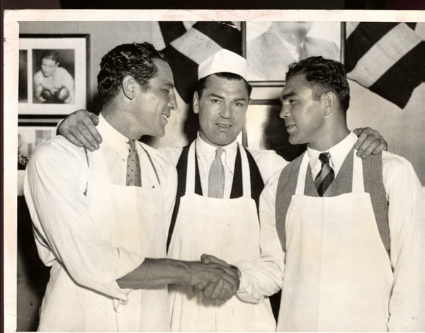 Baer,Max-Schmeling Wirephoto 1933 with Jack Dempsey