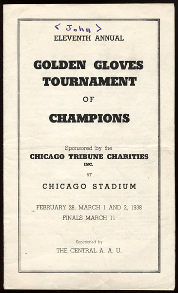 1938 Chicago Golden Gloves Program (Ezzard Charles)