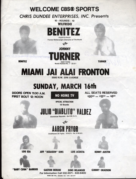 BENITEZ, WILFRED-JOHNNY TURNER ON SITE BROADSIDE POSTER (1980)
