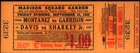 MONTANEZ, PEDRO-JIMMY GARRISON FULL UNUSED TICKET (1938)