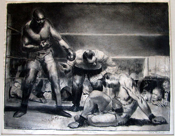 WHITE HOPE LITHOGRAPH BY BELLOWS SIGNED BY JOHNSON & JEFFRIES
