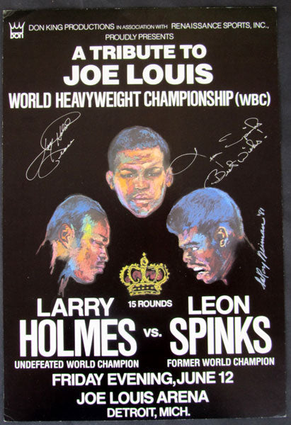 HOLMES, LARRY-LEON SPINKS SIGNED ON SITE POSTER (1981)